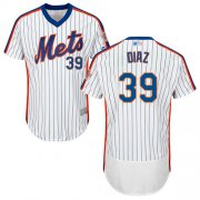 Wholesale Cheap Mets #39 Edwin Diaz White(Blue Strip) Flexbase Authentic Collection Alternate Stitched MLB Jersey