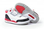 Wholesale Cheap Air Jordan III Kid(2013 Release) Shoes White/Red/Black