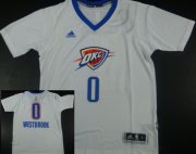 Wholesale Cheap Oklahoma City Thunder #0 Russell Westbrook Revolution 30 Swingman 2014 New White Short-Sleeved Jersey