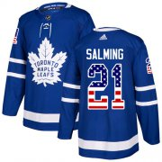 Wholesale Cheap Adidas Maple Leafs #21 Borje Salming Blue Home Authentic USA Flag Stitched NHL Jersey