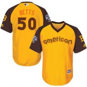 Wholesale Cheap Red Sox #50 Mookie Betts Gold 2016 All-Star American League Stitched Youth MLB Jersey