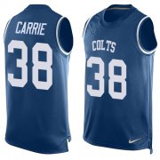 Wholesale Cheap Nike Colts #38 T.J. Carrie Royal Blue Team Color Men's Stitched NFL Limited Tank Top Jersey