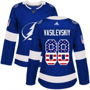 Wholesale Cheap Adidas Lightning #88 Andrei Vasilevskiy Blue Home Authentic USA Flag Women's Stitched NHL Jersey