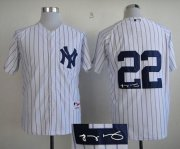 Wholesale Cheap Yankees #22 Jacoby Ellsbury White Autographed Stitched MLB Jersey