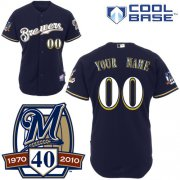 Wholesale Cheap Brewers Personalized Authentic Blue Cool Base w/40th Anniversary Patch MLB Jersey (S-3XL)