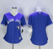 Wholesale Blue Jays Blank Blue Women's Fashion Stitched Baseball Jersey
