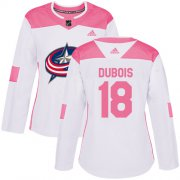 Wholesale Cheap Adidas Blue Jackets #18 Pierre-Luc Dubois White/Pink Authentic Fashion Women's Stitched NHL Jersey