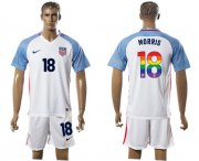 Wholesale Cheap USA #18 Morris White Rainbow Soccer Country Jersey