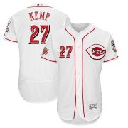 Wholesale Cheap Men's Reds #27 Matt Kemp Majestic White 150th Anniversary Home Authentic Collection Flex Base Player Jersey