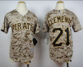 Wholesale Cheap Pirates #21 Roberto Clemente Camo Cool Base Stitched Youth MLB Jersey