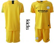 Wholesale Cheap Manchester City Blank Yellow Goalkeeper Kid Soccer Club Jersey