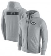 Wholesale Cheap Men's New York Jets Nike Ash Gridiron Gray 2.0 Full-Zip Hoodie