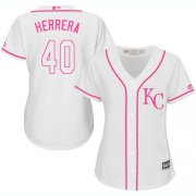 Wholesale Cheap Royals #40 Kelvin Herrera White/Pink Fashion Women's Stitched MLB Jersey