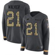 Wholesale Cheap Nike Lions #21 Tracy Walker Anthracite Salute to Service Women's Stitched NFL Limited Therma Long Sleeve Jersey