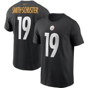 Wholesale Cheap Pittsburgh Steelers #19 JuJu Smith-Schuster Nike Team Player Name & Number T-Shirt Black
