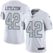 Wholesale Cheap Nike Raiders #42 Cory Littleton White Men's Stitched NFL Limited Rush Jersey