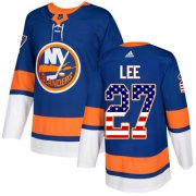 Wholesale Cheap Adidas Islanders #27 Anders Lee Royal Blue Home Authentic USA Flag Stitched Youth NHL Jersey