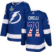 Cheap Adidas Lightning #71 Anthony Cirelli Blue Home Authentic USA Flag Youth 2020 Stanley Cup Champions Stitched NHL Jersey