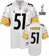 Wholesale Cheap Steelers #51 James Farrior White Super Bowl XLV Stitched NFL Jersey