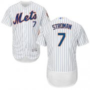 Wholesale Cheap Mets #7 Marcus Stroman White(Blue Strip) Flexbase Authentic Collection Stitched MLB Jersey