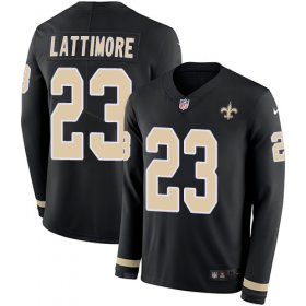 Wholesale Cheap Nike Saints #23 Marshon Lattimore Black Team Color Youth Stitched NFL Limited Therma Long Sleeve Jersey