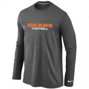 Wholesale Cheap Nike Chicago Bears Authentic Font Long Sleeve T-Shirt Dark Grey