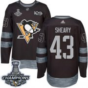 Wholesale Cheap Adidas Penguins #43 Conor Sheary Black 1917-2017 100th Anniversary Stanley Cup Finals Champions Stitched NHL Jersey