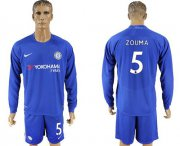 Wholesale Cheap Chelsea #5 Zouma Home Long Sleeves Soccer Club Jersey
