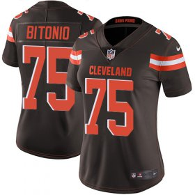 Wholesale Cheap Nike Browns #75 Joel Bitonio Brown Team Color Women\'s Stitched NFL Vapor Untouchable Limited Jersey