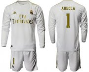 Wholesale Cheap Real Madrid #1 Areola White Home Long Sleeve Soccer Club Jersey