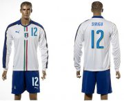 Wholesale Cheap Italy #12 Sirigu White Away Long Sleeves Soccer Country Jersey