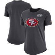 Wholesale Cheap NFL Women's San Francisco 49ers Nike Anthracite Crucial Catch Tri-Blend Performance T-Shirt