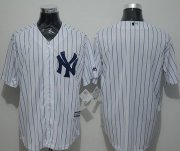 Wholesale Cheap Yankees Blank White Strip New Cool Base Stitched MLB Jersey
