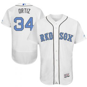 Wholesale Cheap Red Sox #34 David Ortiz White Flexbase Authentic Collection Father\'s Day Stitched MLB Jersey