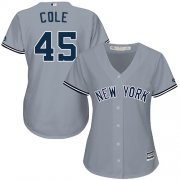 Wholesale Cheap Yankees #45 Gerrit Cole Grey Road Women's Stitched MLB Jersey