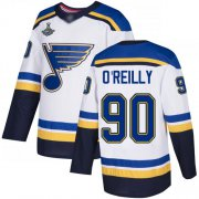 Wholesale Cheap Adidas Blues #90 Ryan O'Reilly White Road Authentic Stanley Cup Champions Stitched NHL Jersey