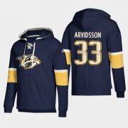 Wholesale Cheap Nashville Predators #33 Viktor Arvidsson Navy adidas Lace-Up Pullover Hoodie