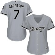 Wholesale Cheap White Sox #7 Tim Anderson Grey Road Women's Stitched MLB Jersey