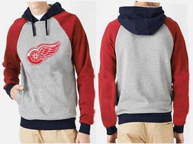 Wholesale Cheap Detroit Red Wings Pullover Hoodie Grey & Red