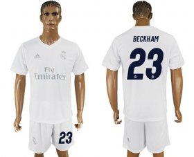 Wholesale Cheap Real Madrid #23 Beckham Marine Environmental Protection Home Soccer Club Jersey