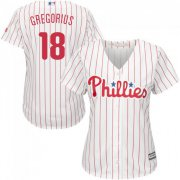 Wholesale Cheap Phillies #18 Didi Gregorius White(Red Strip) Home Women's Stitched MLB Jersey