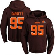 Wholesale Cheap Nike Browns #95 Myles Garrett Brown Name & Number Pullover NFL Hoodie
