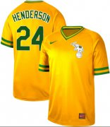 Wholesale Cheap Nike Athletics #24 Rickey Henderson Yellow Authentic Cooperstown Collection Stitched MLB Jersey