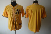 Wholesale Athletics Blank Yellow Cool Base Stitched Baseball Jersey