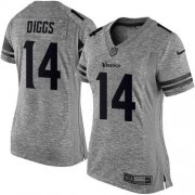 Wholesale Cheap Nike Vikings #14 Stefon Diggs Gray Women's Stitched NFL Limited Gridiron Gray Jersey