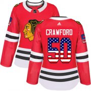 Wholesale Cheap Adidas Blackhawks #50 Corey Crawford Red Home Authentic USA Flag Women's Stitched NHL Jersey