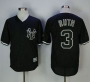 Wholesale Cheap Yankees #3 Babe Ruth Black Fashion Stitched MLB Jersey