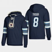 Wholesale Cheap Winnipeg Jets #8 Jacob Trouba Blue adidas Lace-Up Pullover Hoodie