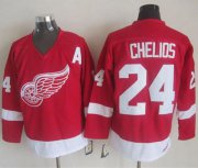 Wholesale Cheap Red Wings #24 Chris Chelios Red CCM Throwback Stitched NHL Jersey