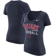 Wholesale Cheap Cleveland Indians Nike Women's Practice 1.7 Tri-Blend V-Neck T-Shirt Heathered Navy